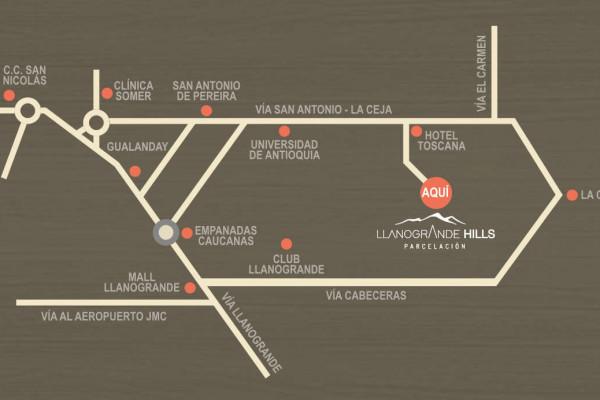 ubicacion llanogrande hills mapa